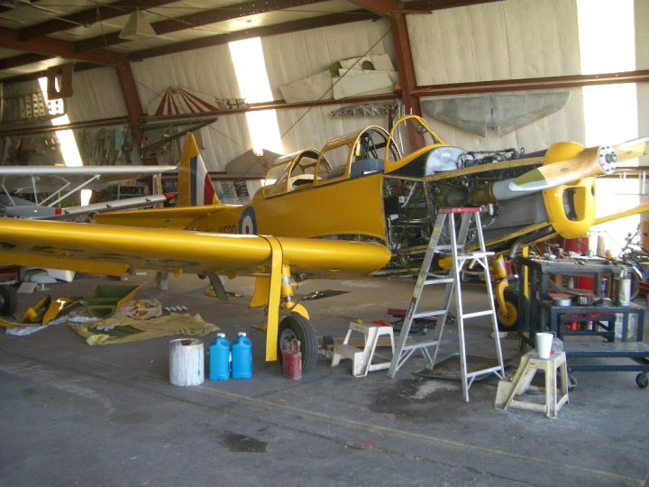 The PT-26 undergoes its 2005 annual inspection at Col. Bob Wilden's shop at Mid Valley Airpark